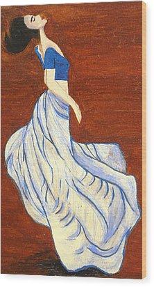 Dancing Girl -acrylic Painting Wood Print by Rejeena Niaz