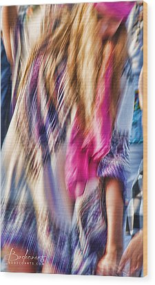 Dancing Hippie Wood Print by Robin Lewis