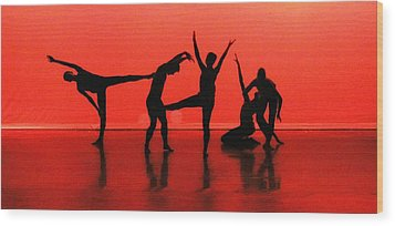 Dancing In Red Wood Print by Kenneth Mucke