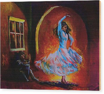 Dancing In The Square Wood Print by Jerry Frech