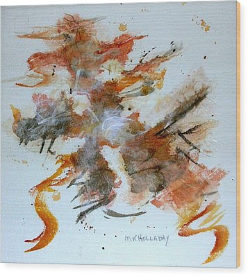 Wood Print featuring the mixed media Dancing by Mary Kay Holladay