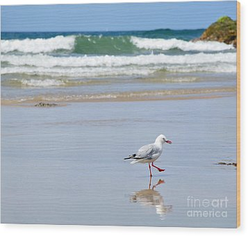Dancing On The Beach Wood Print by Kaye Menner