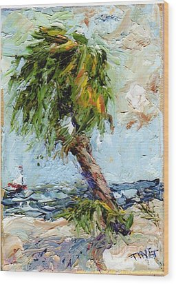 Wood Print featuring the painting Dancing Palm by Doris Blessington