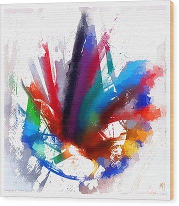 Dancing Peacock Wood Print by Greta Thorsdottir