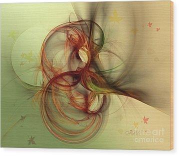 Dancing Wood Spirit Wood Print by Jutta Maria Pusl