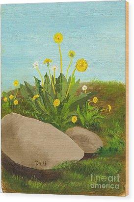 Dandelion Field Wood Print