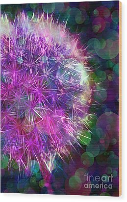 Dandelion Party Wood Print by Judi Bagwell