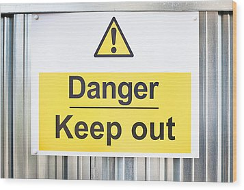 Danger Sign Wood Print by Tom Gowanlock