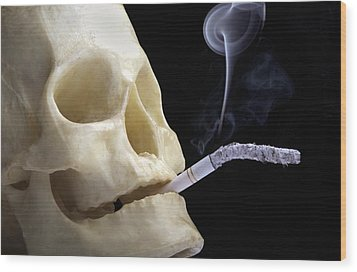 Dangers Of Smoking, Conceptual Image Wood Print by Victor De Schwanberg
