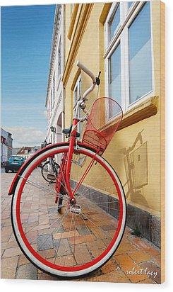 Danish Bike Wood Print by Robert Lacy