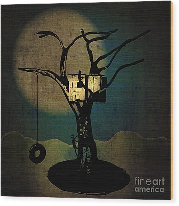 Dans Tree House Wood Print by Laura Brightwood