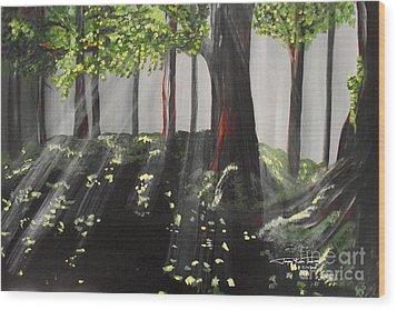 Dappled Forest 1 Wood Print by Jayne Kerr