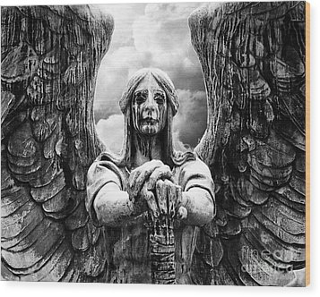 Dark Angel Warrior Wood Print by Anne Raczkowski