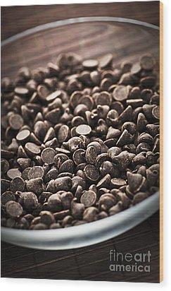 Dark Chocolate Chips Wood Print by Elena Elisseeva