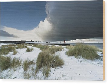 Dark Clouds And Blue Sky Over A Red Wood Print by John Short