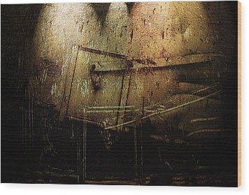 Dark Door Wood Print by Janet Kearns