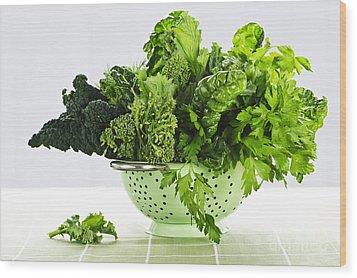 Dark Green Leafy Vegetables In Colander Wood Print by Elena Elisseeva