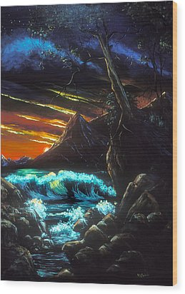 Dark Shores Wood Print