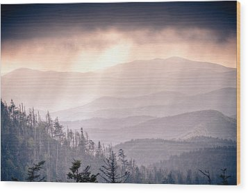 Dark Vista Over The Smokys Wood Print by Pixel Perfect by Michael Moore