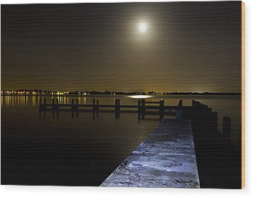 Darkness On The Bradenton Bay Wood Print by Nicholas Evans