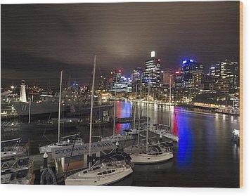 Darling Harbor Sydney Skyline 2 Wood Print by Douglas Barnard