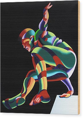 Wood Print featuring the painting Dave 25-03 - Abstract Geometric Figurative Oil Painting by Mark Webster