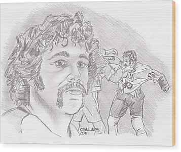Wood Print featuring the drawing Dave Schultz- The Hammer by Chris  DelVecchio