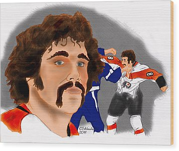 Wood Print featuring the drawing Dave Schultz- The Hammer Color by Chris  DelVecchio