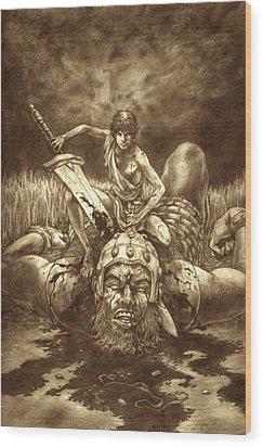 David And Goliath Wood Print by Amiri Bennett