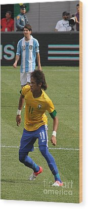 David And Goliath Lionel Messi And Neymar Junior Wood Print by Lee Dos Santos