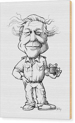 David Attenborough, British Naturalist Wood Print by Gary Brown