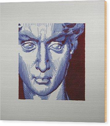 David In Periwinkle And Burgundy Wood Print by Barbara Lugge