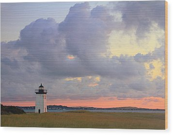 Dawn At Long Point Lighthouse Wood Print by Roupen  Baker