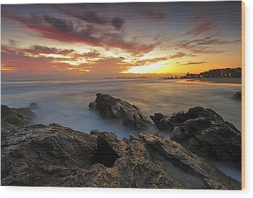 Dawn At The Rocks Wood Print by Mark Lucey