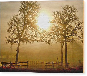 Dawn In The Country Wood Print