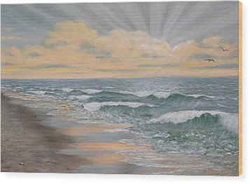 Dawn Surf Wood Print by Kathleen McDermott