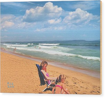 Wood Print featuring the digital art Day At The Beach by Richard Stevens