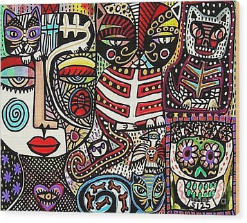 Day Of The Dead Cats Wood Print by Sandra Silberzweig