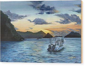 Daybreak At Batteaux Bay Wood Print by Trister Hosang
