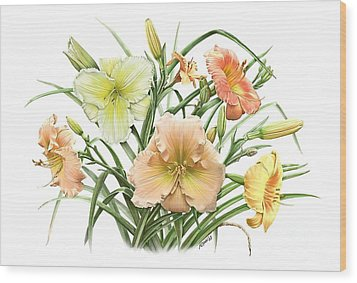 Daylily Bouquet Wood Print by Artellus Artworks