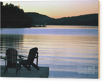 Day's End At The Lake Wood Print