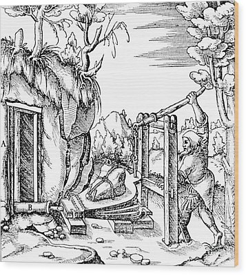 De Re Metallica, Bellows, 16th Century Wood Print by Science Source