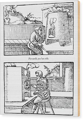 De Re Metallica, Cupellation Furnaces Wood Print by Science Source