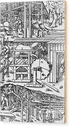 De Re Metallica, Ventilation Of Mines Wood Print by Science Source