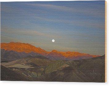 Death Valley Moonrise Wood Print