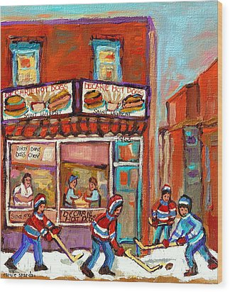Decarie Hot Dog Montreal Restaurant Paintings Ville St Laurent Streets Of Montreal Paintings Wood Print by Carole Spandau