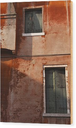 Decayed Facade Of A Building Venice Wood Print by Trish Punch