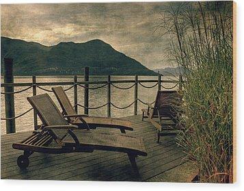 Deck Chairs Wood Print by Joana Kruse