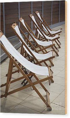 Deckchairs Wood Print by Carlos Caetano