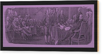 Declaration Of Independence In Pink Wood Print by Rob Hans